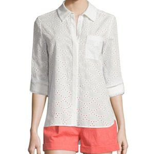 DVF | Lorelei Two Cream Eyelet Button Down Shirt